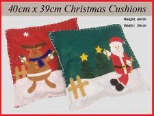 2x Novelty CHRISTMAS CUSHIONS Cover 1x SANTA 1x REINDEER Decorative Present Gift