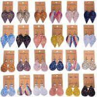 Handmade Bling Leather Earrings Boho Leaf Teardrop Dangle Ear Stud Women Jewelry