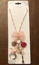 Disney Princesses Rose Gold Pink Bow Charm Necklace New With Tags!