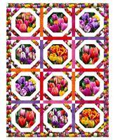 "Elizabeth's Studio Digital Garden Tulips 100% cotton 34"" x 44"" Fabric panel"