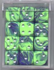 NEW Dice Cube Set of 36 D6 (12mm) - Toxic Green-Blue