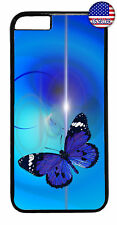 Sky Blue Butterfly Art Rubber Case Cover For iPhone 8 7 Plus 6 5 4 X