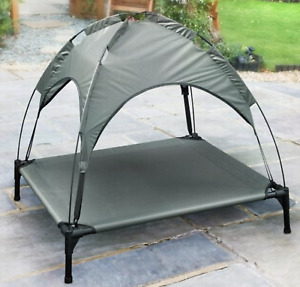 Raised Dog Bed With Canopy Sun Protector Pet Bed Outdoor Waterproof Cool Grey