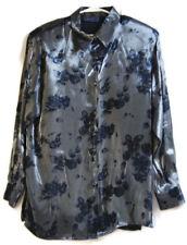 Karen Scott Women Gray Blouse New Sz M Floral Design Shiny Shoulder Pad MSRP 40