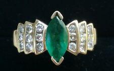 RJM  Vintage 14k Yellow Gold Emerald  Diamond Ring Estate Jewelry 4.3 gm