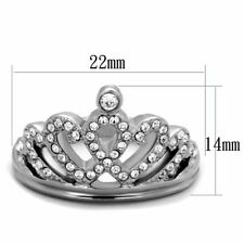 Steel Fashion Crown Infinity Ring Womens Clear Cubic Zirconia Silver Stainless