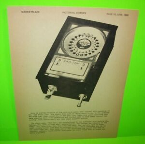 Fan Tan Northwest Coin Machine Marketplace Magazine Table Top Counter Game 1980