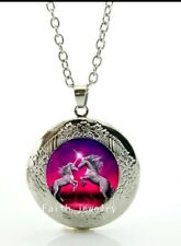 Unicorn Necklace marbel locket with gift poch Christmas Birthday 840