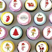 "Christmas Xmas Mini Edible Icing Cupcake Toppers - 1.5"" - PRE-CUT - Sheet of 30"