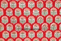 Indian Hand Block Print Floral Cotton Dressmaking Craft Fabric By Yard Red