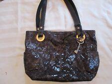 Fossil Womens Leather Hobo,Crocodile Print, Brown Hand Bag Purse