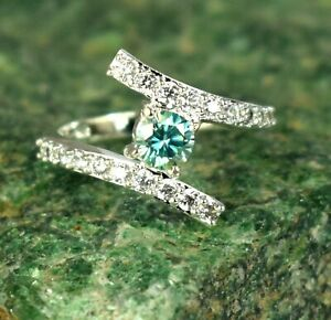 Blue Diamond 2.35 Ct  Solitaire Halo Ring Very Shinny & Lustrous
