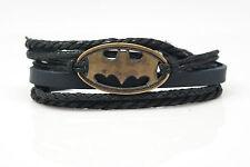 Batman Rope and Leather Adjustable Unisex Charm Bracelet Handmade