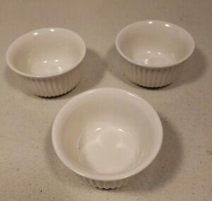 """Pier 1 One Imports Ramekin 3"""" x 1 1/2"""" Baking Dish White Ribbed Set of 3"""