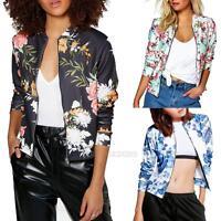 Fashion Women Floral Biker Motorcycle Baseball Zipper Bomber Jacket Coat Outwear