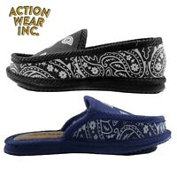 TROOPER AMERICA MEN'S CASUAL HOUSE SHOES COMFORT PAISLEY BANDANNA SLIPPERS SLIDE