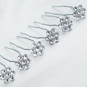 5 U shape Fancy Hair Pin Headpiece Bridal Jewellery Ornaments Silver Accessorie