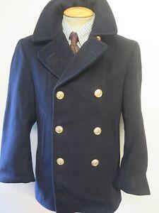 """Vintage 1940's US NAVY OFFICERS PEA COAT Naval Clothing Kersey Wool 36"""" Euro 46"""