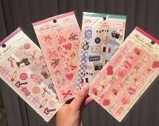 Lot 4 Flower Paris Lace Cute Kawaii PVC Transparent Border Stickers Diary Deco