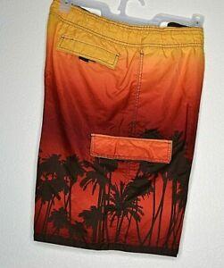 Mossimo Men's Board Shorts Sz.L  Yellow/Orange/Burnt Orange Hombre/ Black Plams