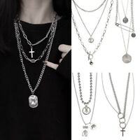 Punk Hip Hop Rock Multi-Layer Cross Pendant Long Chain Choker Necklace Jewelry