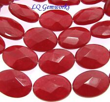 "15.5"" Strand RUBY RED JADE 13x18mm Faceted Oval Beads BOGO"