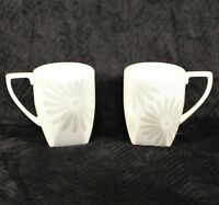 222 Fifth Alice Platinum Square Bottom Coffee Tea Mugs - White Floral - LOT of 2