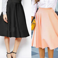 EG_ Womens Fashion High Waist A-Line Pleated Knee-Length Skirts Office Dress Wel