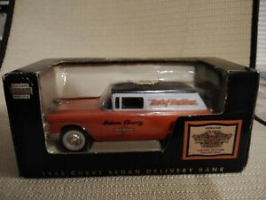 1955 Chevy Sedan Delivery Harley Davidson Truck Bank 1:25 Scale New In Box