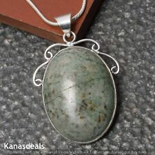 Fashoin Chain Pendant 2'' Cp-9784 Green Jasper 925 Sterling Silver Plated