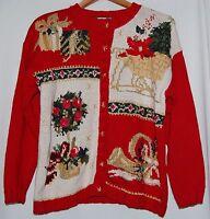 Tiara International Winter Christmas Cardigan Sweater Red Gold Poinsettia M Knit