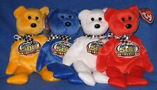 TY STORE RACING GOLD NASCAR BEANIE BABY SET of 4 - MINT with MINT TAGS