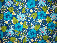 TROPICAL HIBISCUS FLOWERS HIAWAII FLORAL BLUES COTTON FABRIC BTHY