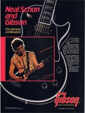 NEAL SCHON vtg 80s GIBSON SIGNATURE MODEL LES PAUL PINUP PRINT AD Journey Guitar