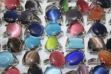 Job Lots 30pcs Big Cat eye stone colorful Silver P Colorful Women's Charm ring