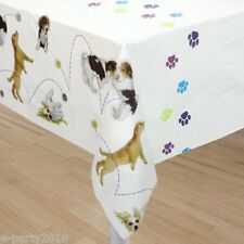 PUPPY PARTY TABLE COVER ~ Birthday Party Supplies Beagle Lab Bulldog Shepherd