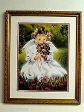 ANGEL GIRL PICTURE CHILDREN  RABBITS RELIGIOUS MATTED FRAMED 16X20