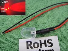 25, Super Bright 20000MCD 9v-12v-16v-18v 10mm RED Led Pre-Wired Wire 10RL