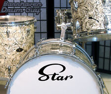Star Script, 60s/70s Vintage, Repro Logo - Adhesive Vinyl Decal, for Bass Drum