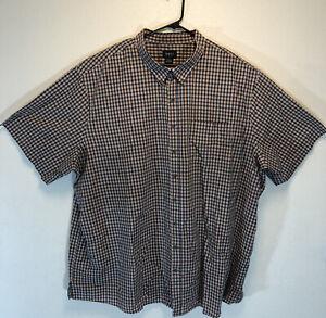 5XLT Harbor Bay button down short sleeve shirt men's  Orange Black Plaid Shirt