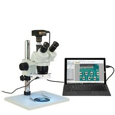 Trinocular 10X-20X-30X-60X 5Mp Usb3 Stereo Microscope Table Stand 144 Led Light