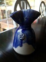 Studio Pottery Bud Vase Small handmade, blue and white