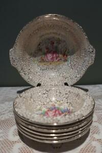 Vintage Tunstall Bone China 7 Pc Dessert Set - Crinoline Lady - Gilt Chintz - Gc