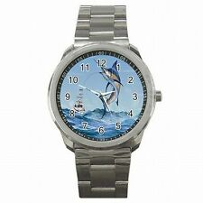 Marlin Fish Deep Sea Fishing Stainless Steel Watch