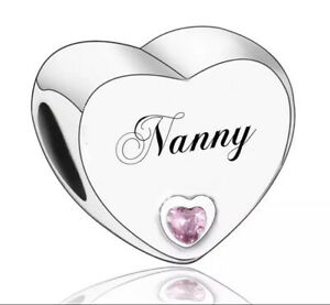 NANNY CHARM WITH PINK CZ GENUINE 925 STERLING SILVER GIFT 💜💛💜