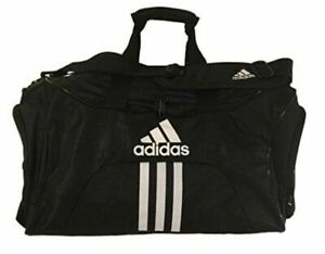 "Adidas Scorer MEDIUM Duffel Black BLUE 25"" TOP ZIP VENTED POCKET RIPSTOP GYM BAG"