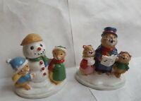2 Christmas Animal Carolers Decorative Figurines • pre-owned • super cuteness!