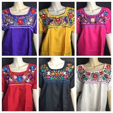 1cca88e6be2d4 WOMENS PEASANT EMBROIDERED MEXICAN HANDMADE BLOUSE ASSORTED COLORS AND SIZES