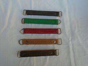 Lotto maniglie vintage vera pelle leather handle  5 pezzi valigia borsa