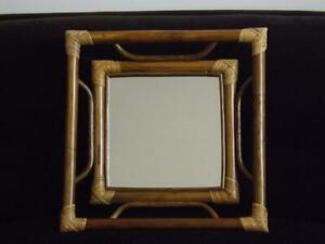 "Bamboo Rattan Wall Mirror 16"" Square"